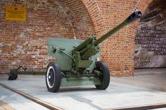 第二次世界大战的苏联反坦克76 mm枪, ZIS-3 outdoo 图库摄影