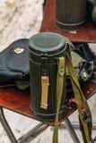 第二次世界大战的防毒面具的容器 免版税库存照片