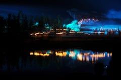 第二章节`灯` -大规模河沿展示`井冈山` 免版税图库摄影