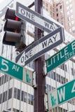第五大道的路牌在纽约 免版税库存图片