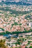 第比利斯乔治亚 新的文化中心, Rike公园鸟瞰图, 免版税库存图片