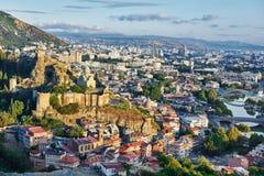 第比利斯全景在乔治亚,欧洲 库存照片