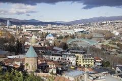 第比利斯,乔治亚国家的首都全景视图  从Narikala堡垒的看法 图库摄影