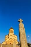 第比利斯,乔治亚- 2016年10月8日:主要看法第比利斯Sameba大教堂三位一体最大的正统大教堂在高加索 库存照片