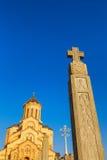 第比利斯,乔治亚- 2016年10月8日:主要看法第比利斯Sameba大教堂三位一体最大的正统大教堂 免版税库存图片