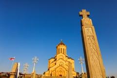 第比利斯,乔治亚- 2016年10月8日:主要看法第比利斯Sameba大教堂三位一体最大的正统大教堂 库存图片