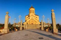 第比利斯,乔治亚- 2016年10月8日:主要看法第比利斯Sameba大教堂三位一体最大的正统大教堂 免版税库存照片