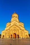 第比利斯,乔治亚- 2016年10月8日:主要看法第比利斯Sameba大教堂三位一体最大的正统大教堂 图库摄影