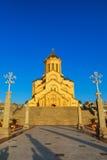第比利斯,乔治亚- 2016年10月8日:主要看法第比利斯Sameba大教堂三位一体最大的正统大教堂 免版税图库摄影