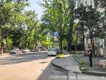 第比利斯,乔治亚- - 2018年5月17日:城市,开花树,在街道的汽车的街道 春天在城市 免版税库存图片
