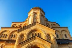 第比利斯,乔治亚- 2016年10月8日:第比利斯Sameba大教堂三位一体最大的正统大教堂在乔治亚和 免版税图库摄影