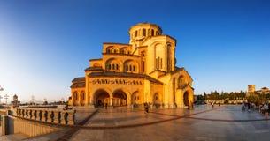 第比利斯,乔治亚- 2016年10月8日:第比利斯Sameba大教堂三位一体最大的正统大教堂在乔治亚和 免版税库存图片