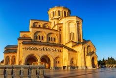第比利斯,乔治亚- 2016年10月8日:第比利斯Sameba大教堂三位一体最大的正统大教堂在乔治亚和 库存照片