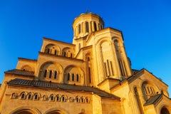 第比利斯,乔治亚- 2016年10月8日:第比利斯Sameba大教堂三位一体最大的正统大教堂在乔治亚和 库存图片