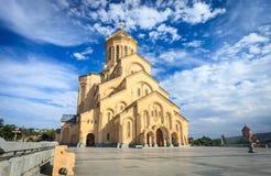 第比利斯,乔治亚三位一体大教堂  库存照片