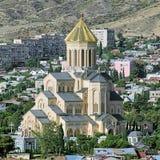 第比利斯,乔治亚三位一体大教堂 免版税图库摄影