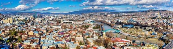 第比利斯,乔治亚全景 免版税库存图片