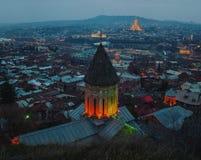 第比利斯,乔治亚鸟瞰图市中心在 免版税库存图片