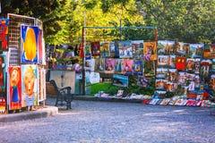 第比利斯,乔治亚- 2016年10月08日, :在第比利斯干燥桥梁市场街市的绘画  免版税库存照片