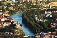 第比利斯从上面市视图,乔治亚 免版税库存照片