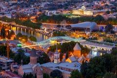 第比利斯 城市的看法在晚上 免版税图库摄影