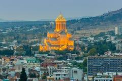 第比利斯 城市的看法在晚上 免版税库存照片