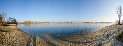 第聂伯河的全景在基辅 免版税库存照片