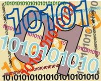 第零和一,象征二进制编码 向量例证