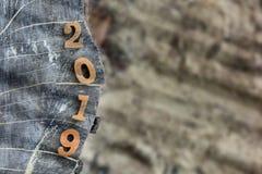 第顶视图在木日志的2019年 免版税库存照片