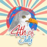 第4与全国鸟老鹰的7月背景 库存图片