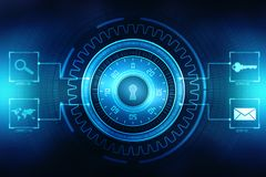 第2个例证安全概念:在数字式背景,互联网安全背景的闭合的挂锁 免版税库存图片