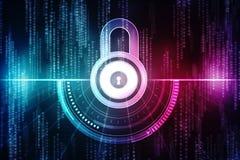 第2个例证安全概念:在数字式背景,互联网安全背景的闭合的挂锁 免版税库存照片