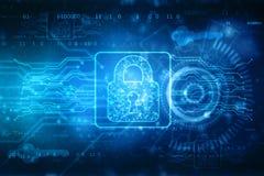 第2个例证数字安全概念,在数字技术背景的锁 库存例证