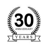 第30个周年年月桂树花圈减速火箭的黑颜色 免版税库存照片