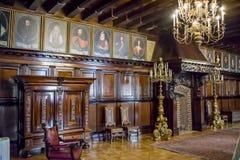 第16个和第18个世纪的涅斯维日城堡大厦的内部白俄罗斯的建筑学的纪念碑 图库摄影