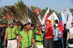 第29个国际风筝节日的印地安舞蹈家2018年-印度 图库摄影