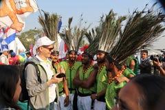 第29个国际风筝节日的印地安舞蹈家2018年-印度 免版税图库摄影
