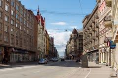 第9个庆祝的日花拉脱维亚救星可以在其次放置里加的纪念碑对胜利战争世界 免版税库存照片