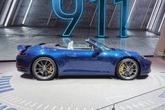 第89个日内瓦国际汽车展示会-保时捷911卡雷拉4S敞蓬车 免版税库存照片