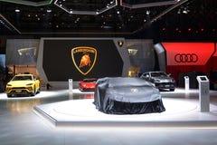 第88个日内瓦国际汽车展示会2018年- Lamborghini立场 库存照片