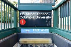 第116个街道地铁站- NYC 库存照片