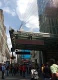 第34个街道Penn驻地,长岛铁路, MTA LIRR,帝国大厦, NYC,美国 库存照片