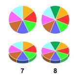 第2个3个D分数饼 网站介绍盖子海报平的概述象的Fractions向量例证