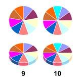 第2个3个D分数饼 网站介绍盖子海报平的概述象的Fractions库存例证