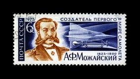 第1位俄罗斯飞机开发商A Mozhajski,超音速喷气机TU-144,大约1975年, 免版税图库摄影