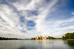 第14开始的城堡世纪建筑海岛立陶宛石trakai是 库存照片