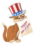 第4愉快的7月 滑稽的猫在爱国帽子祝贺 免版税库存照片