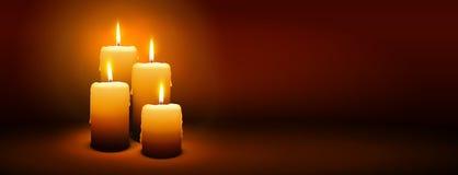 第4星期天出现-第四个蜡烛-烛光全景横幅 免版税库存照片