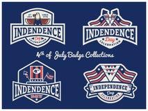 第4 7月徽章商标汇集的美国独立日 向量例证