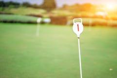 第1枚孔徽章在下午高尔夫球场 免版税库存照片